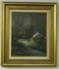 nocturnal scene with figures in snow by j.m. holdredge