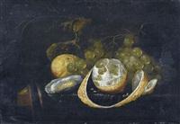 stillleben mit trauben, zitrone und auster by guilliam van deynum