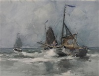 sailboats on rough seas by william st. thomas smith