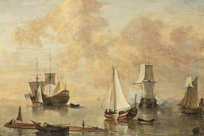 hamnbild med salutskjutande skepp by lieve pietersz verschuier