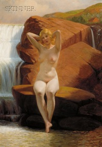 portrait of a nude by a waterfall by wilhelm pacht