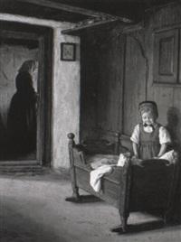 interior med en lille pige ved en vugge, i baggrunden moderen by valdemar holger v. rasmussen magaard
