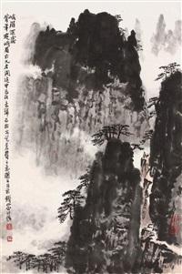峨眉深处 镜片 设色纸本 (landscape) by qian songyan