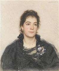 portrait of a woman said to be sandra drouker by alexander petrovitch sokolov