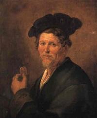 portrait of an old man in a grey coat holding a portrait medallion by jacques des rousseaux