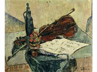 violin and bottle by thelma salina aylma van alstyne