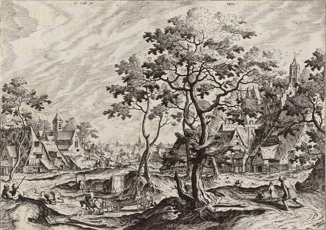 landschaft mit einem dorf und einem von zwei pferden gezogenen karren by hans bol