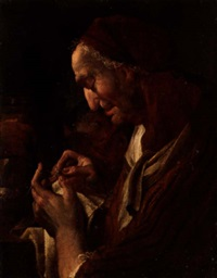 an elderly lady making lace, a young child behind by ulrich glantschnigg