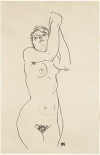 stehender akt mit erhobenen armen (standing nude with raised arms) by egon schiele