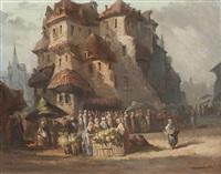 blumenmarkt in amsterdam by pierre (henri théodore) tetar van elven