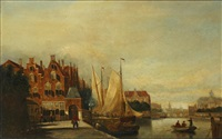 dutch townscape with river, and companion by john frederik hulk the younger