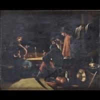 interno di taverna con fumatori di pipa (+ interno con figure intente a filare e cucire; pair) by justus junker