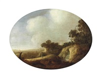 an extensive wooded landscape with travellers on a path by a cascade, a village and a church beyond by anthony jansz van der croos