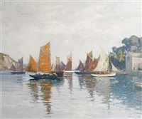 french harbor by augustus william enness
