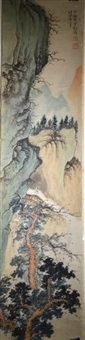 four chinese paintings of landscape, signed 'shen shaomei' by chen shaomei