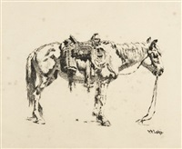 saddled horse by william robinson leigh