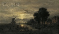 nocturne with windmill by wilhelm ferdinand xylander