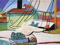 wharf scene with boat and building (biloxi?) by paul ninas