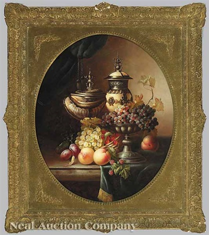 still life with exotic vessels grapes peaches and plums by jean laurent