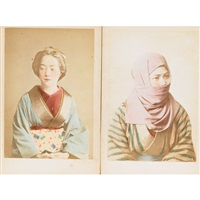japanese portraits (portfolio of 12) by raimund von (baron) stillfried-rathenitz
