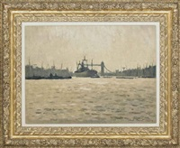 the thames with tower bridge in the distance by hugh boycott-brown