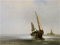 fischerboote am strand by louis bentabole