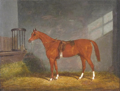 bay horse in a stable by james of bath loder