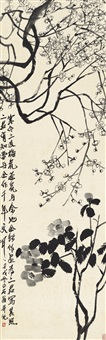 寒梅山茶图 (plum blossom and camelia) by qi baishi