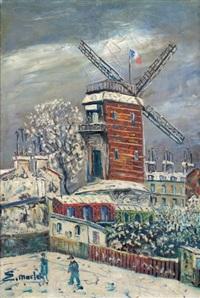 moulin de la galette sous la neige by elisée maclet