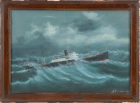 steamship lake fielding in heavy seas by antonio jacobsen