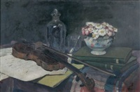nature morte au violon by charles-auguste edelmann