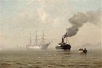 schiff im nebel auf der elbe bei altona by heinrich leitner