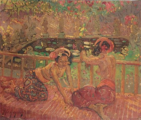balinese women on a balcony by adrien jean le mayeur de merprés