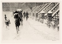stoops in snow by martin lewis