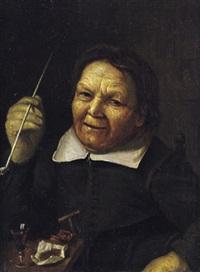 bildnis einer alten frau mit einer pfeife vor einem gefüllten weinglas by johannes fransz hals
