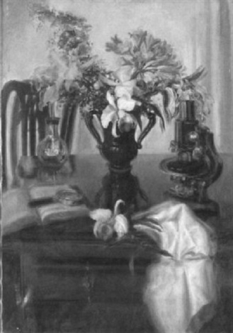 table top still life with flowers microscope and book by blanche ames