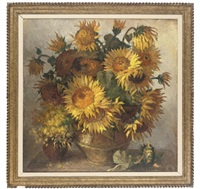 sunflowers and other blooms in pots on a table by oleg ardimasov