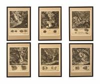 sex etsningar ur serien: abbildung der jagtbaren thiere mit derselben angefugten fahrten und spuhren, ausburg (avbildningar av de jaktbara vilda djuren och deras spår) totalt 22 blad by johann elias ridinger