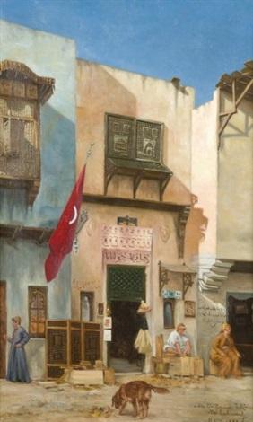 scène animée dans une rue de constantinople by abel boulineau