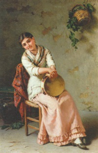 siddende italienerinde med tambourin by girolamo nattino