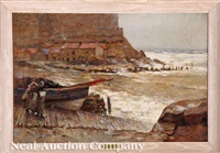 harbor with cliffs, possibly dover by frederick william jackson