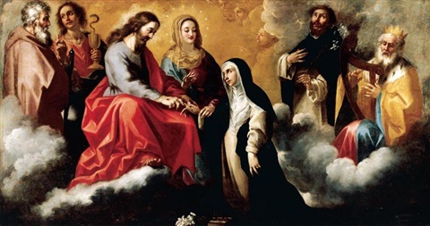 the mystic marriage of saint catherine of siena by clemente de torres