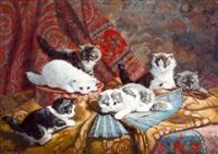zes katjes spelend met een waaier by cornelis raaphorst