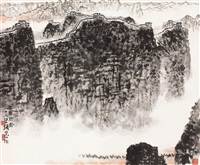 古塞驼铃 镜片 设色纸本 ( landscape) by qian songyan