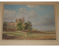 castle in a country landscape by joseph edward hennah