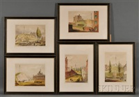 beacon hill from mt. vernon st. (+ 4 others; 5 works) by john henry bufford