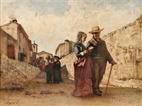 the shepherd's daughters and the merchant's daughter (2 works) by vincenzo cabianca