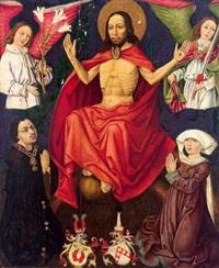 christus auf der weltkugel sitzend, von zwei engeln flankiert, darunter ein stifterpaar der familie rasp von laufenbach mit ihren respektiven wappen by austrian school (16)
