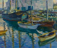 boats at dock by charles salis kaelin