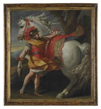 alexander the great and the horse bucephalus by simon vouet